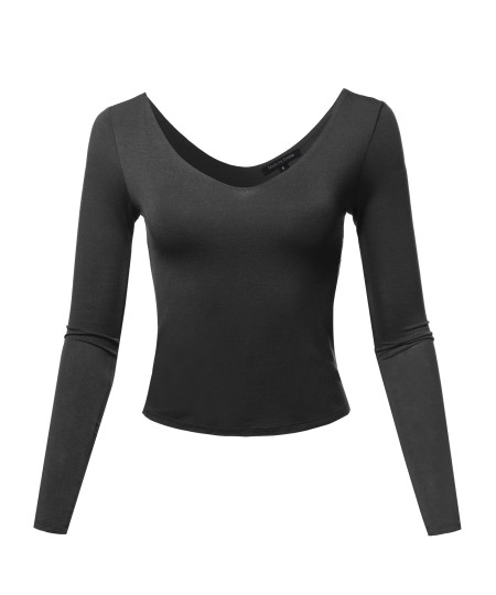 Women's Seamless V Neck Long Sleeve Double Lined Crop Top