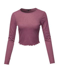 Women's Long Sleeve Ribbed Crew Neck Crop Top With Merrow Edge