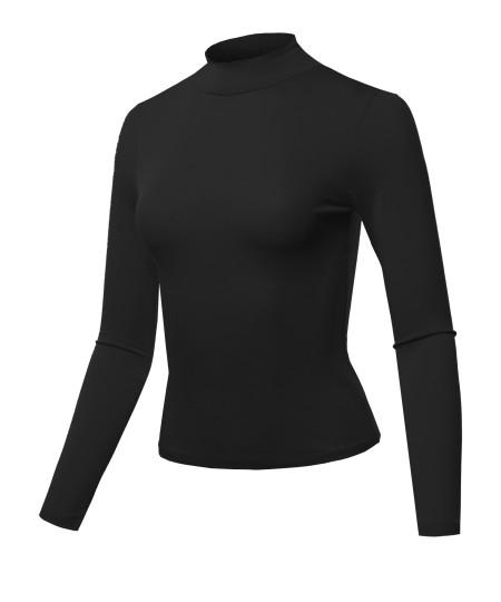 Women's Solid Lightweight Long Sleeve Mock Neck Crepe Jersey Top(S-3XL)