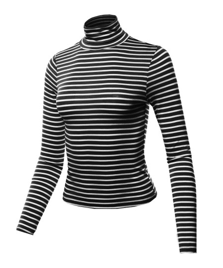 Women's Casual Stretchable Stripe Turtle Neck Long Sleeve Top