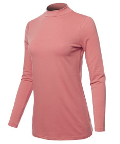 Women's Basic Cotton Mock Neck Long Sleeve Top