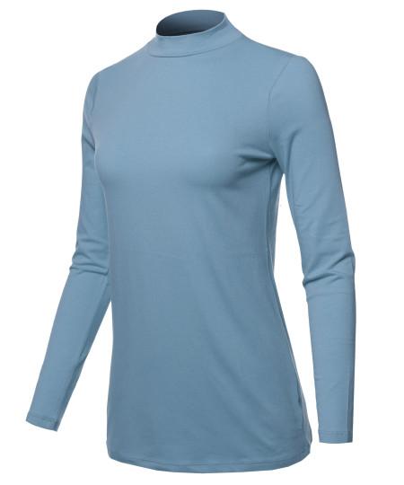 Women's Basic Cotton Mock Neck Long Sleeve Top