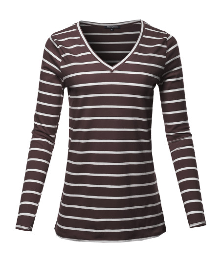 Women's COTTON STRIPED V-NECK TOP