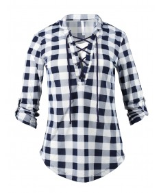Women's Casual Lace Up V-Neckline Rolled Up Sleeve Plaid Top