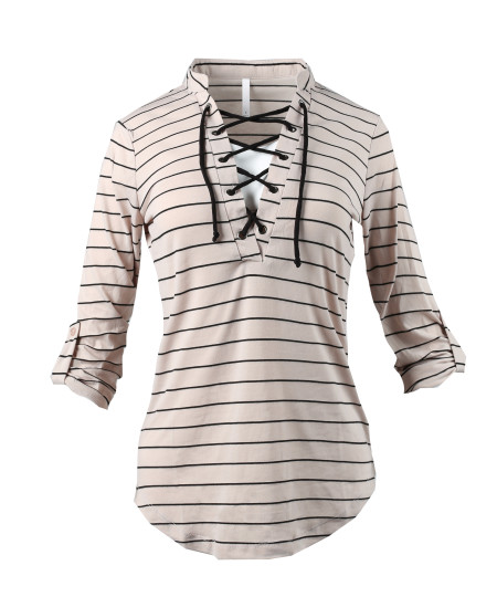 Women's Casual Lace Up V-Neckline Rolled Up Sleeve Stripe Top