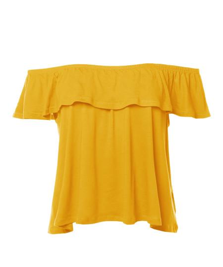 Women's Casual Solid Off-Shoulder Ruffle Top
