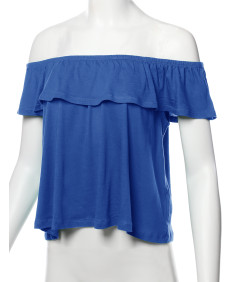 Women's Casual Solid Off-Shoulder Ruffle Top