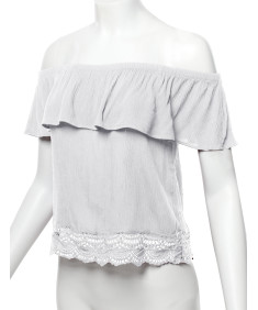 Women's Casual Solid Off Shoulder Lace Trim Bottom Hem Ruffle Top