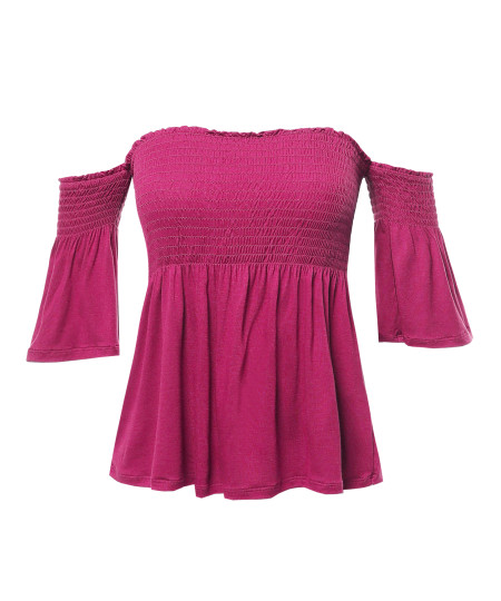 Women's Casual Solid Off Shoulder Smocked Top