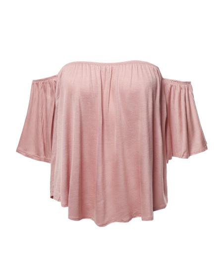 Women's Casual Solid Elastic Shoulder Line Off-Shoulder Top