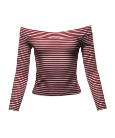 Women's Sexy Stripe Off Shoulder Ribbed Crop Top