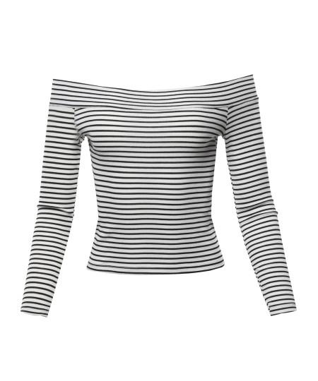 Women's Sexy Stripe Off Shoulder Ribbed Crop Top