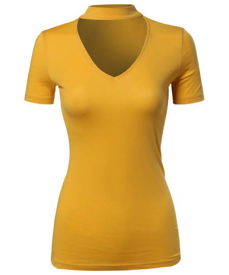 Women's Solid Tight Fit Chocker Neck V-neck Cutout Short Sleeve Top