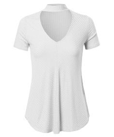 Women's Solid Loose Fit Chocker Neck V-neck Cutout Short Sleeve Top
