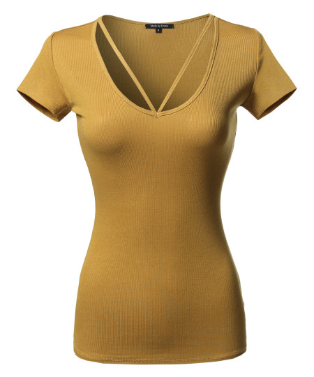 Women's Solid Caged Front Short Sleeves Soft Stretchy Ribbed Knit Top