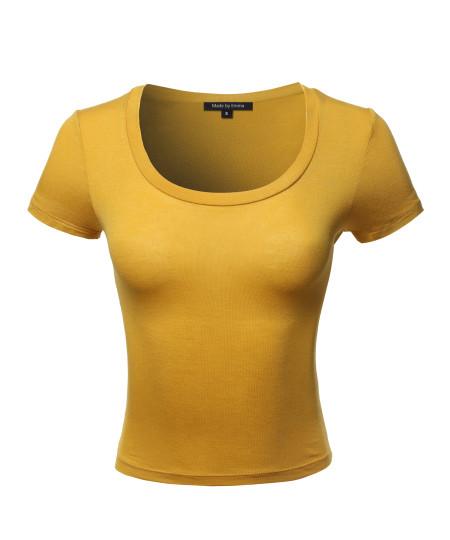 Women's Basic Short Sleeve Scoop Neck Crop Top