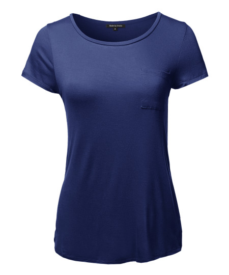 Women's Basic Short Sleeve Scoop Neck Top With Pocket