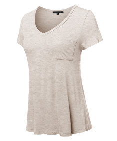 Women's Basic Short Sleeve V-Neck Pocket Top