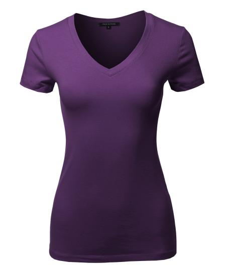 Women's Basic Cotton V-Neck Short Sleeve Top