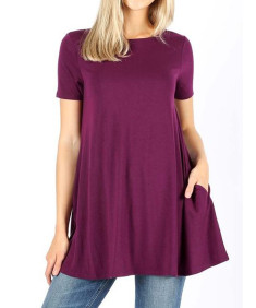 Women's Solid Short Sleeve Round Neck Side Pockets Loose Top