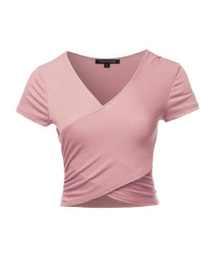 Women's Solid Wrap Front Short Sleeve V-neck Ruched Top