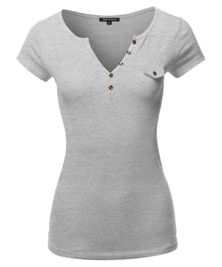 Women's Fitted Henley Shirt with Faux Pocket Flap and Gold Buttons