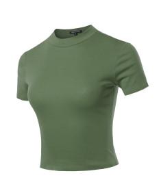 Women's Casual Cotton Mock Neck Short Sleeve Top