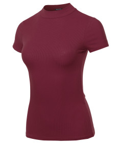 Women's Solid Stretch Ribbed Short Sleeve Mock Turtle Neck Top