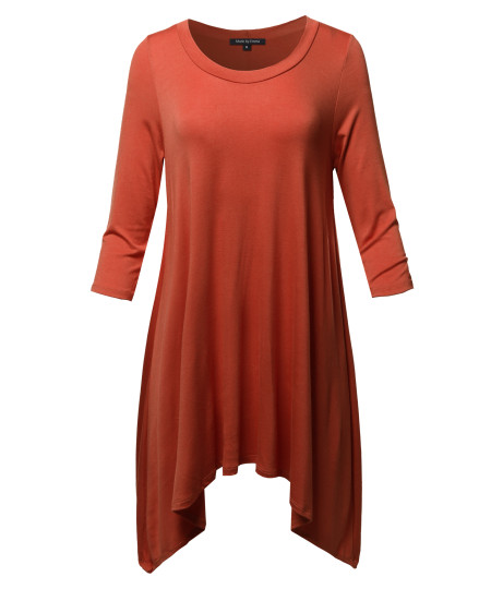 Women's Solid 3/4 Sleeve Loose Fit Swing Tunic Top