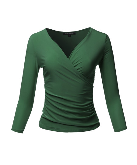 Women's Casual V Neck 3/4 Sleeve Cross Wrap Sexy Ruched Shirt Top
