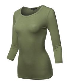 Women's Basic Half Scoop Neck 3/4 Sleeve Solid Top