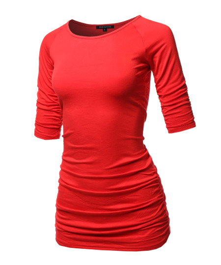 Women's Basic Solid High Quality Side and Sleeve Shirring 3/4 Sleeve Tunic Top