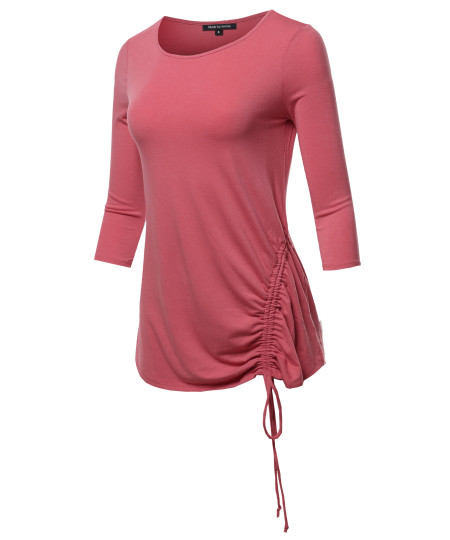 Women's PREMIUM 3/4 SLEEVE ROUND NECK SIDE RUCHED TOP