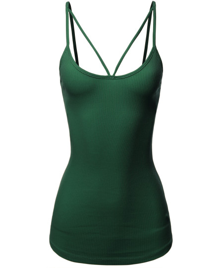 Women's Solid Cotton Based Front V-Line Spaghetti Strap Cami Tank Top