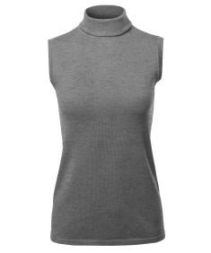 Women's Soft Sleeveless Turtleneck Sweater Top