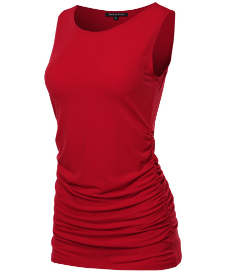 Women's BASIC SOLID SIDE RUCHED SLEEVELESS  TUNIC TOP