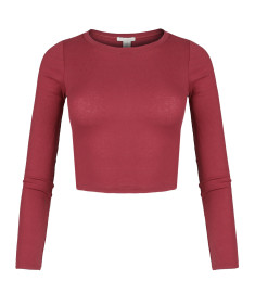 Women's Solid Basic Long Sleeve Ripped Crew Neck Crop Top