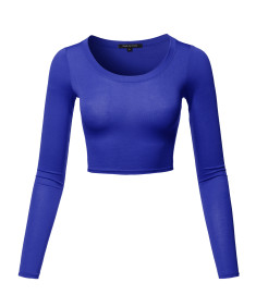 Women's Casual Cute Sexy Junior Size Basic Solid Long Sleeve Crop Top