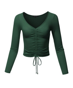 Women's Causal Cute Sexy Solid Ruched Tie Front Drawstring Long Sleeve Crop Top
