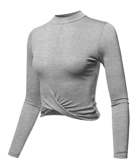Women's Casual Basic Solid Mock Neck Front Twisted Knot Ties Long Sleeve Crop Top