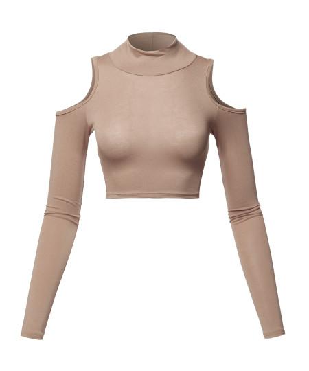 Women's Junior Fit Cut Sexy Plain Turtle Neck Open Shoulder Long Sleeve Crop Top