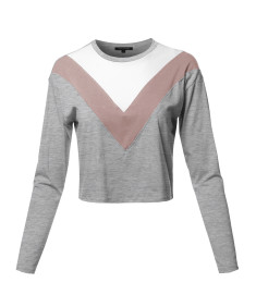 Women's Casual Cute Chervron Color Block Long Sleeve Top