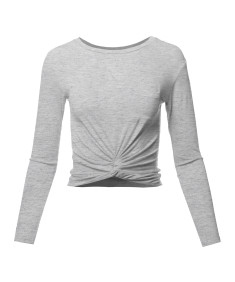 Women's Casual Basic Solid  Round Neck Front Twisted Knot Ties Long Sleeve Crop Top