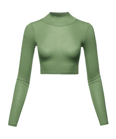 Women's Casual Fitted Mock Neck Long Sleeves Crop Top