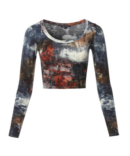 Women's Print Long Sleeve Round-Neck Crop Top