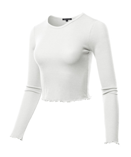 Women's Casual Long Sleeve Thermal Crew Neck Crop Top With Merrow Edge