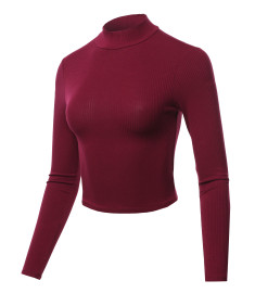 Women's Solid Ribbed Mock Neck Long Sleeve Basic Crop Top