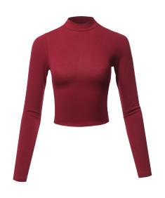 Women's Solid Cotton Mock Neck Long Sleeve Basic Crop Top