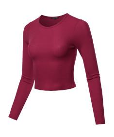 Women's Solid Long Sleeves Thermal Crop Top
