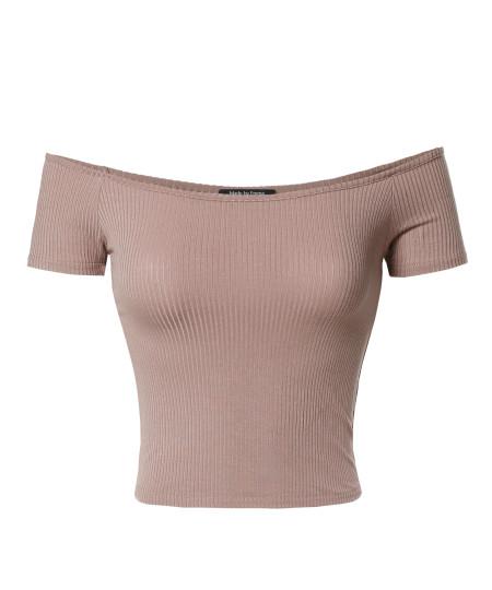Women's Basic Solid Short Sleeve Off Shoulder Crop Top